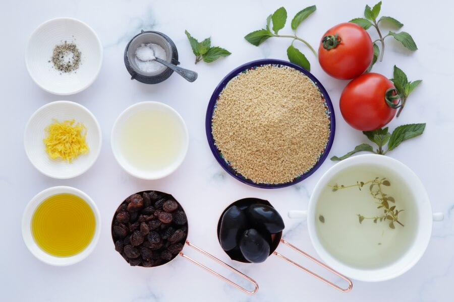 Ingridiens for Couscous Salad with Olives and Raisins