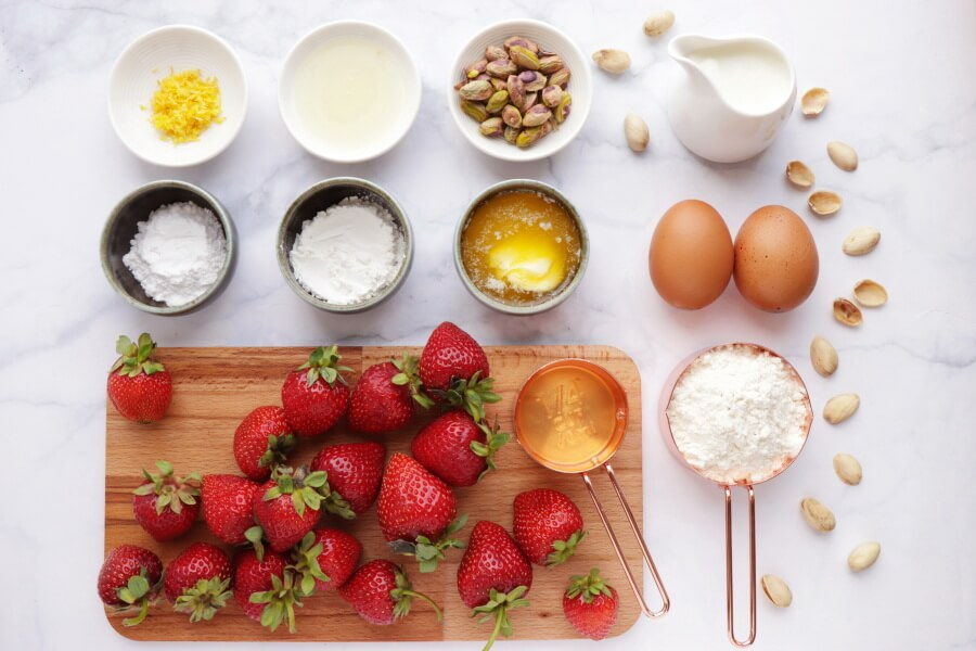 Ingridiens for Dutch Baby with Strawberries and Pistachios