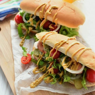 Grilled Chicago Dogs Recipe-Homemade Grilled Chicago Dogs-Delicious Grilled Chicago Dogs
