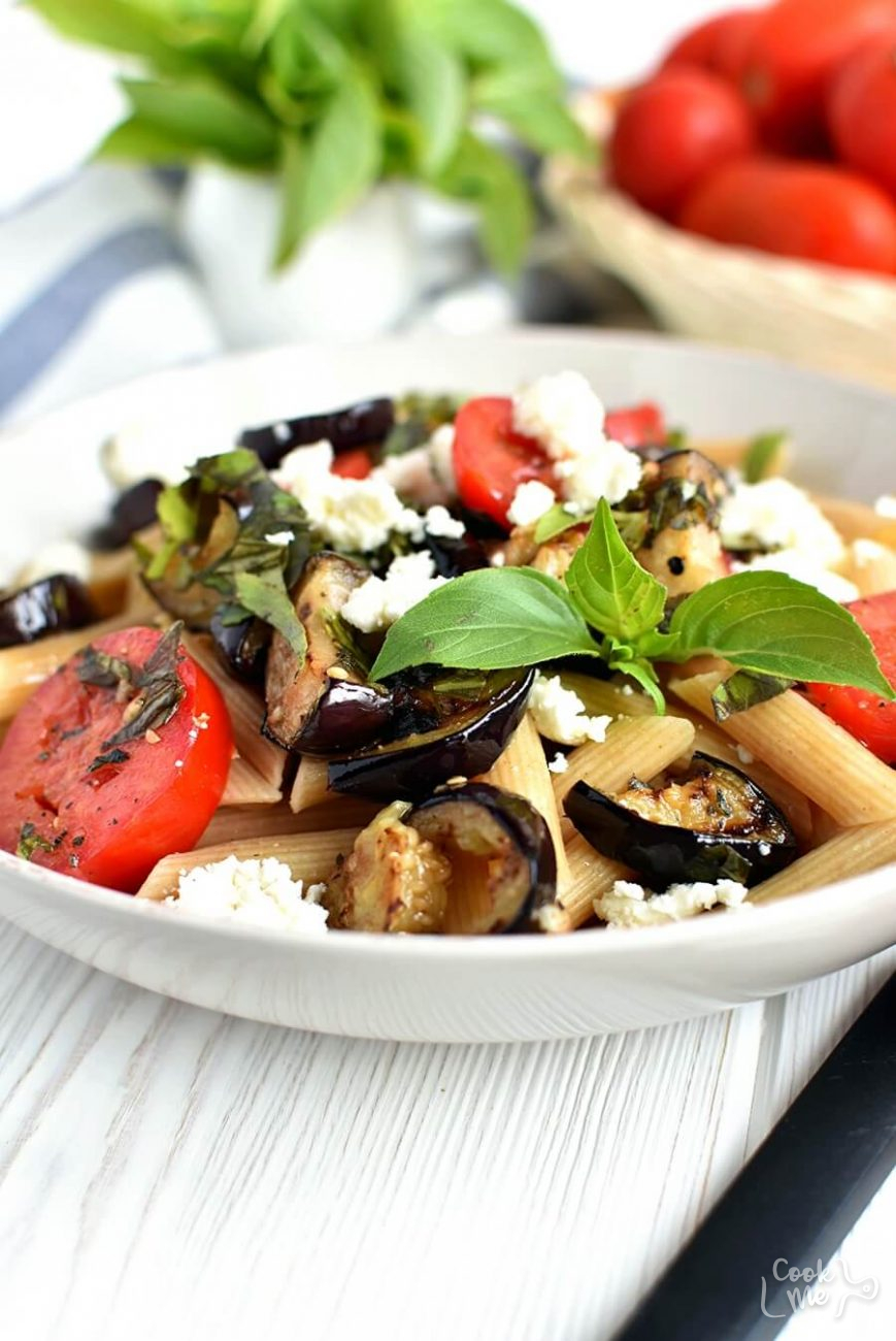 Grilled Eggplant and Tomato Pasta