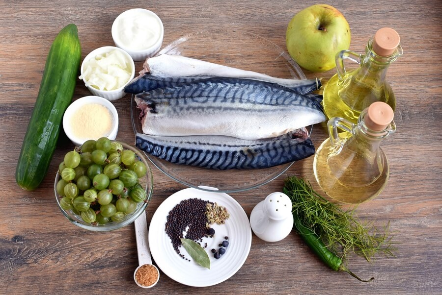 Ingridiens for Grilled Mackerel with Pickled Gooseberry Ketchup