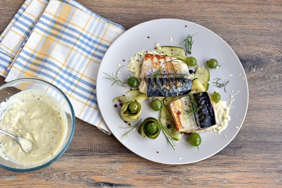 Grilled Mackerel with Pickled Gooseberry Ketchup recipe - step 9
