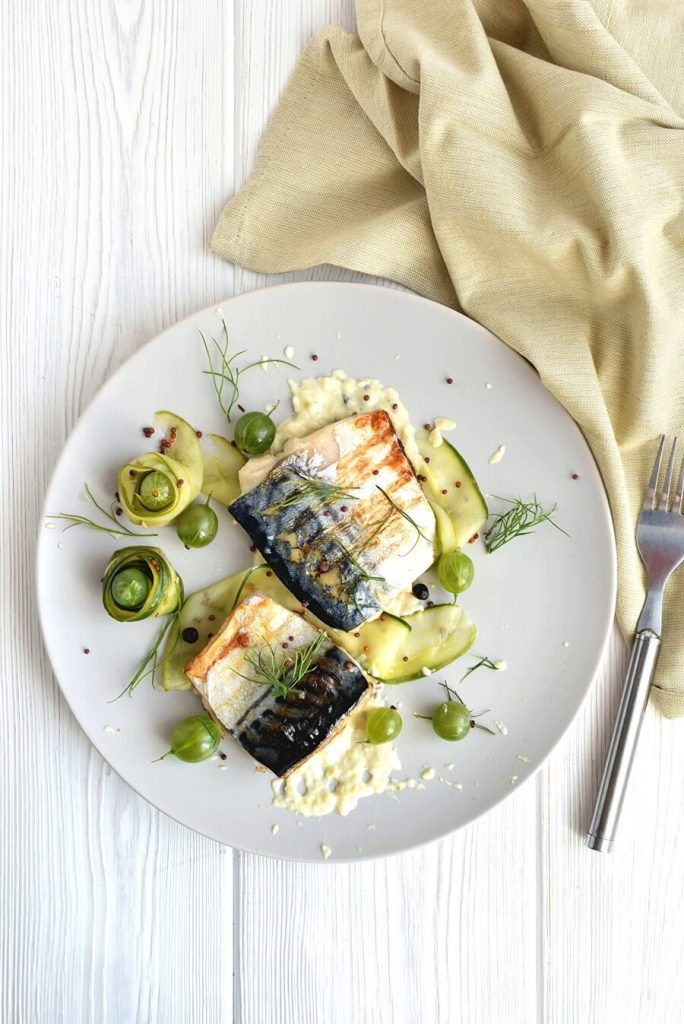A perfect combination of oily fish and pickled gooseberries