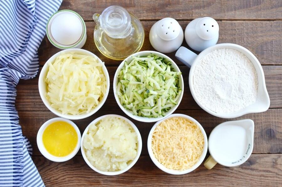 Ingridiens for Irish Zucchini and Potato Pancakes