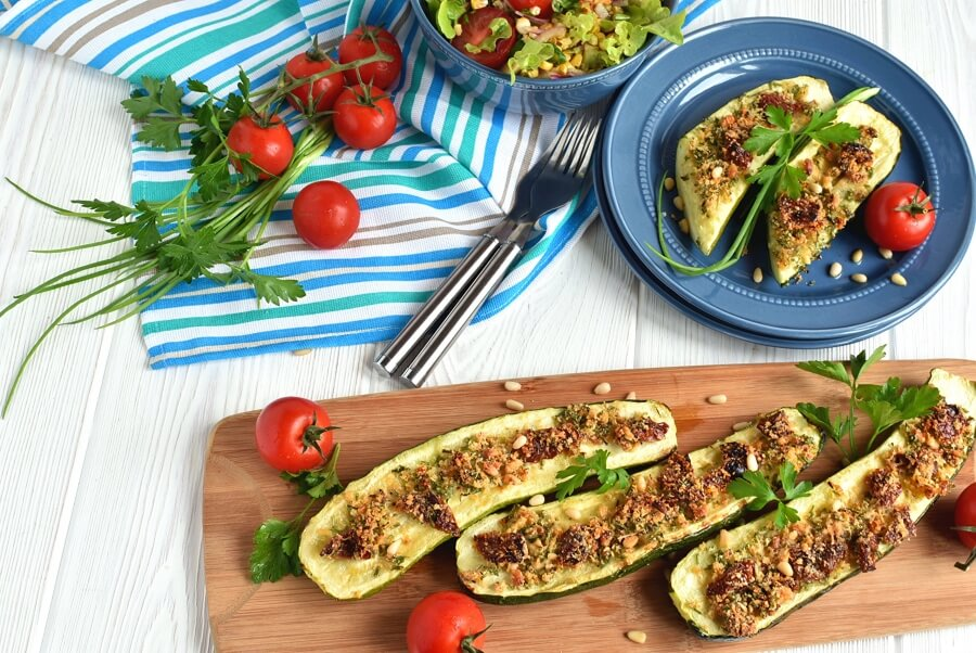 Italian Stuffed Courgettes Recipe-How to make Italian Stuffed Courgettes-Delicious Italian Stuffed Courgettes