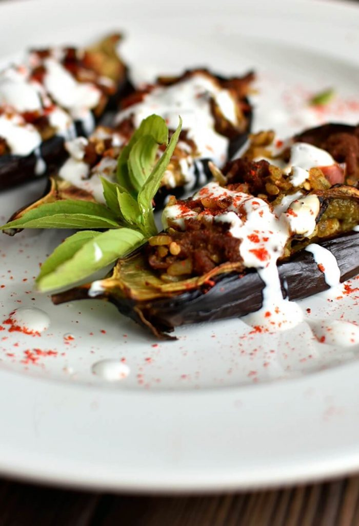 Stuffed with Spices and Lamb, Eggplant