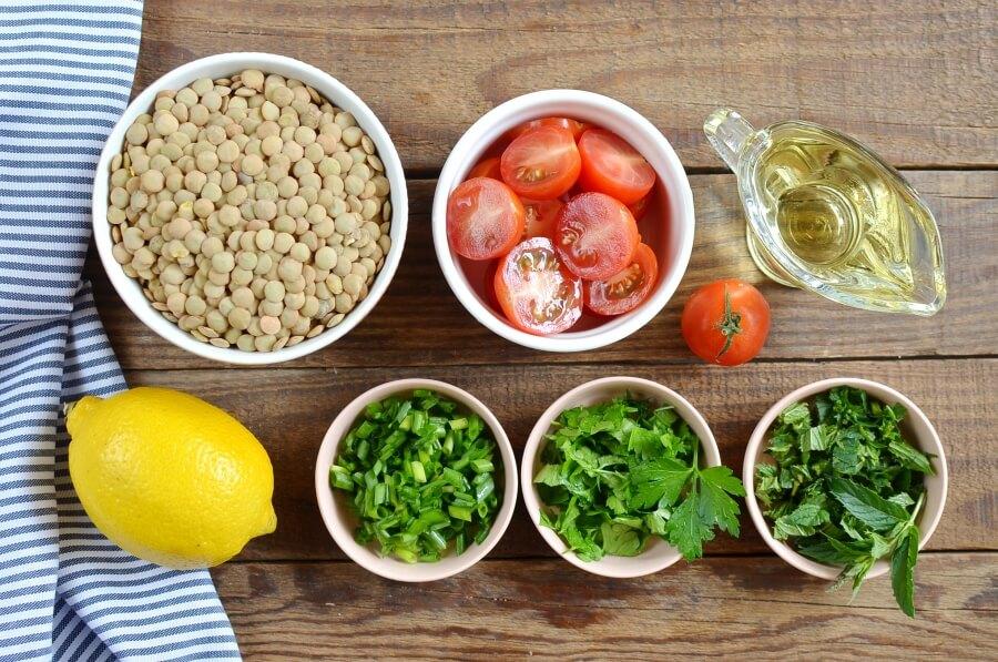 Ingridiens for Vegan Lentil Tabbouleh