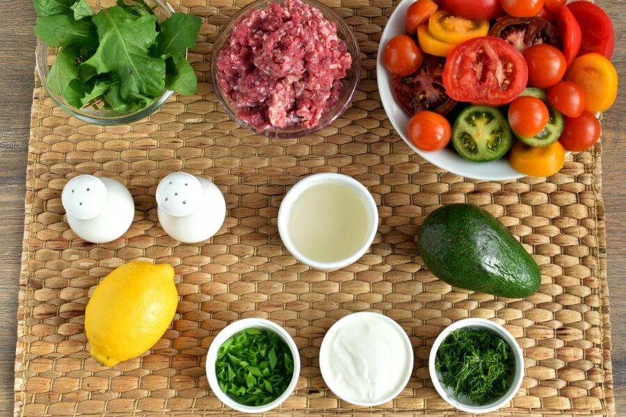 Ingridiens for Keto Meatball and Tomato Salad