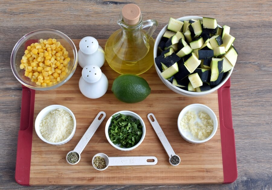 Ingridiens for Parmesan Zucchini and Corn