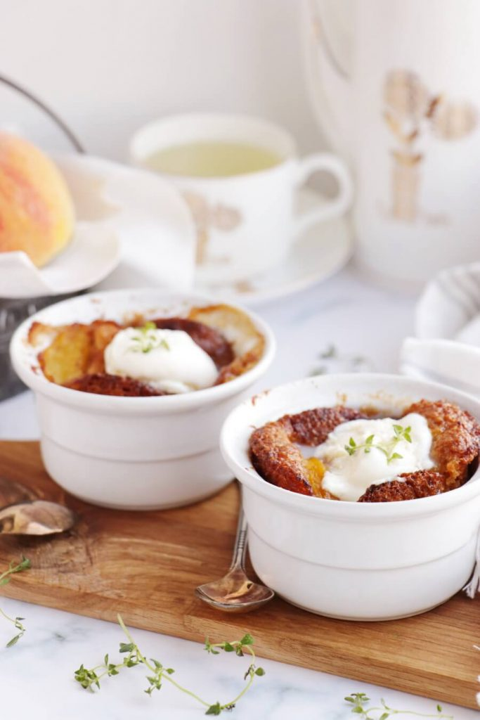 Warm or Cold, Individual Peach Cobblers