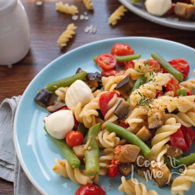 Perfect Pasta Salad With Tomatoes and Eggplant-Roasted Eggplant and Olive Pasta Salad Recipe-How to make Perfect Pasta Salad recipe