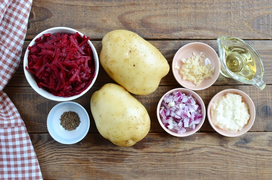 Ingridiens for Potato Rostis with Beetroot Horseradish