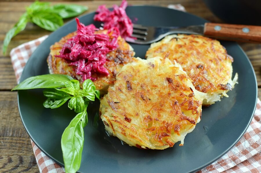 Potato Rostis with Beetroot Horseradish Recipe-Homemade Potato Rostis with Beetroot Horseradish-Delicious Potato Rostis with Beetroot Horseradish