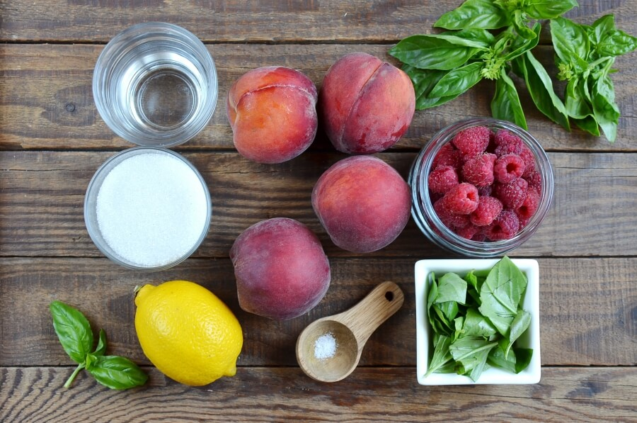 Ingridiens for Raspberries with Peach-Basil Sorbet