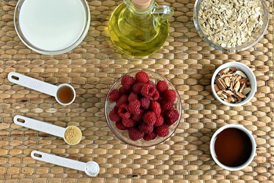 Ingridiens for Vegan Raspberry Almond Baked Oatmeal