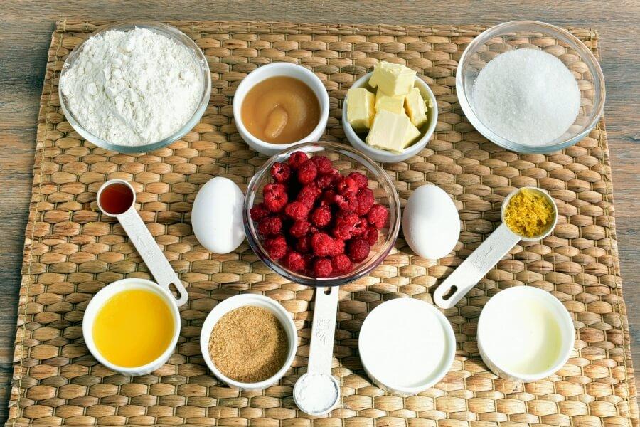 Ingridiens for Raspberry Lemon Crumb Muffins