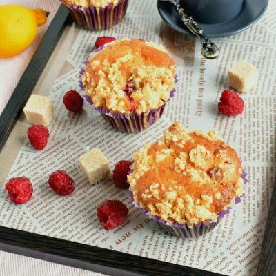 Raspberry Lemon Crumb Muffins Recipe-Homemade Raspberry Lemon Crumb Muffins-Delicious Raspberry Lemon Crumb Muffins