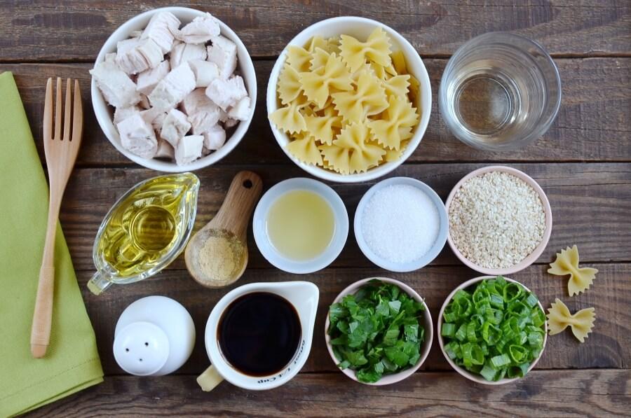 Ingridiens for Sesame Pasta Chicken Salad