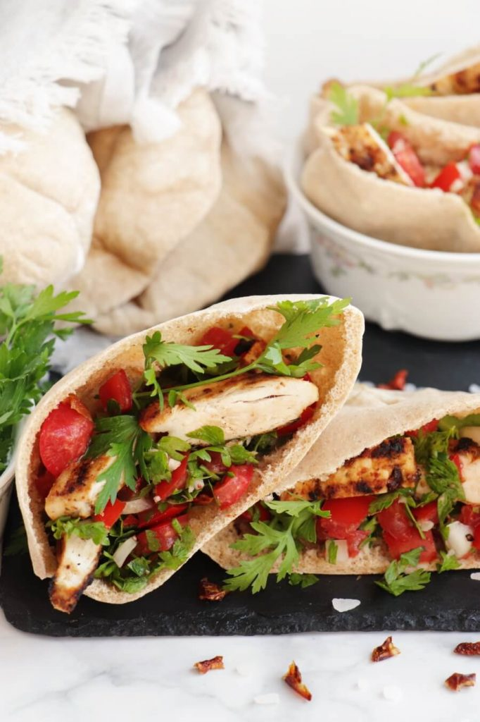 Spicy Chicken and Tomato Relish in Pita Pockets