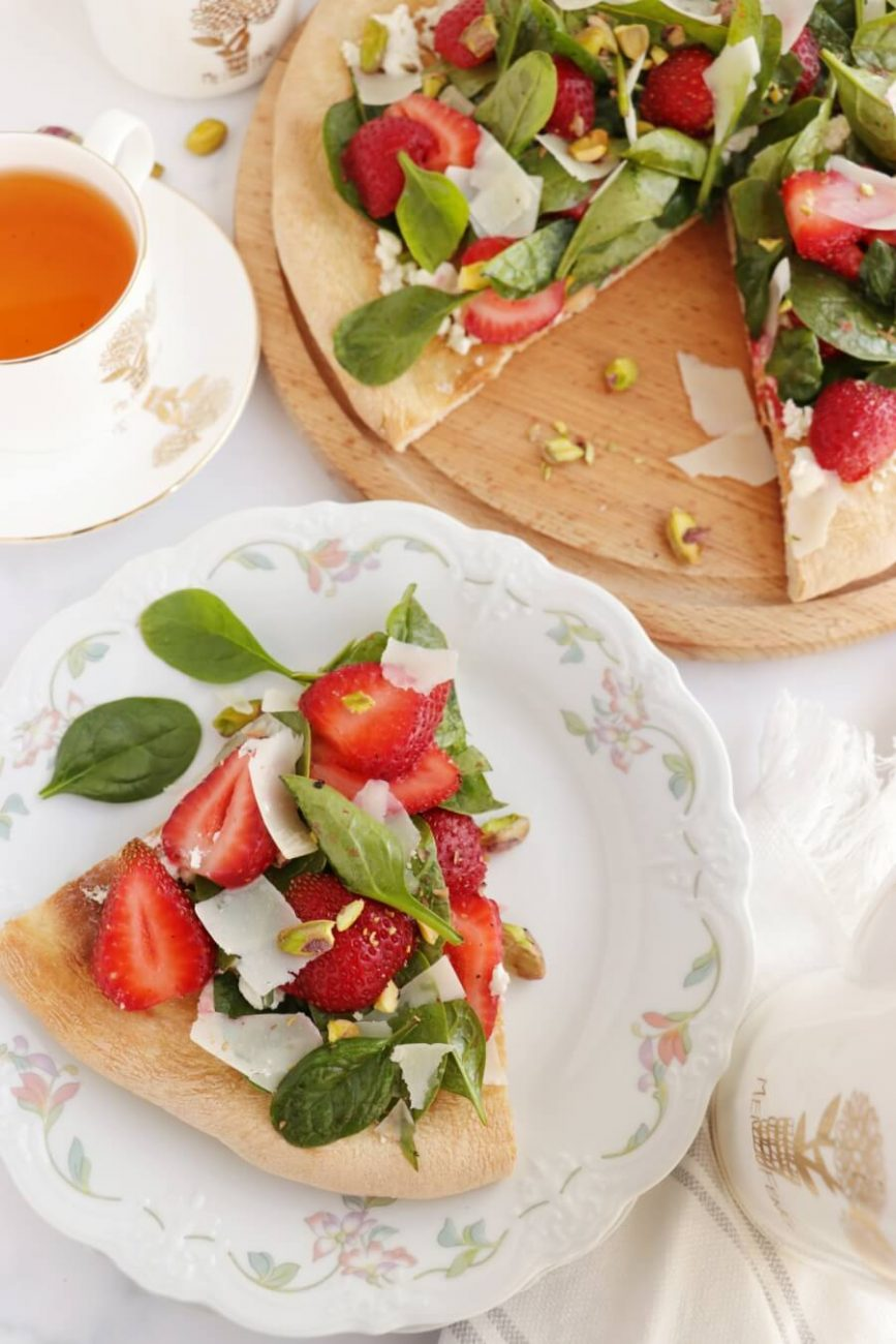 Strawberry, Pistachio and Goat Cheese Pizza