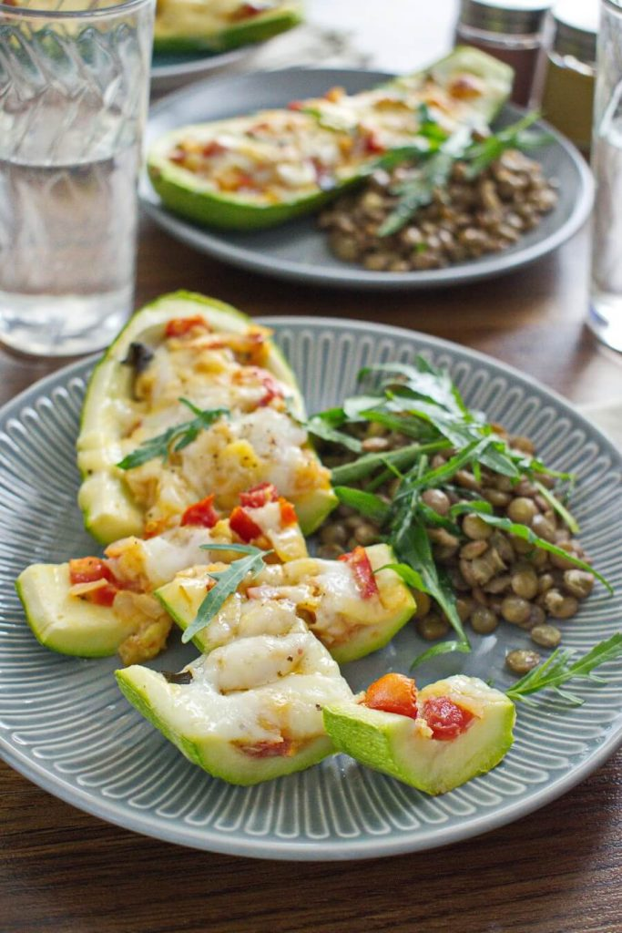 Stuffed Courgettes with Rocket Salad