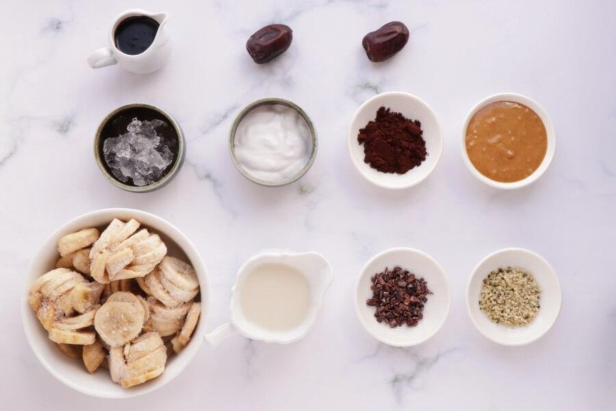 Ingridiens for Vegan Chocolate Peanut Butter Banana Shake