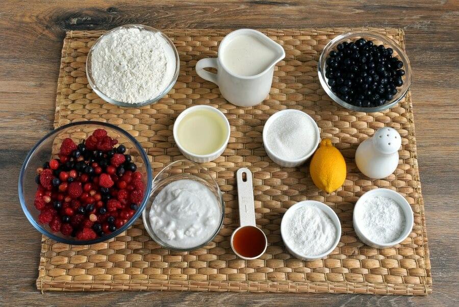 Ingridiens for Vegan Triple Berry Waffles