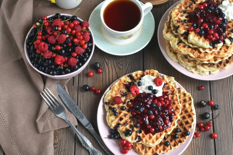 How to serve Vegan Triple Berry Waffles