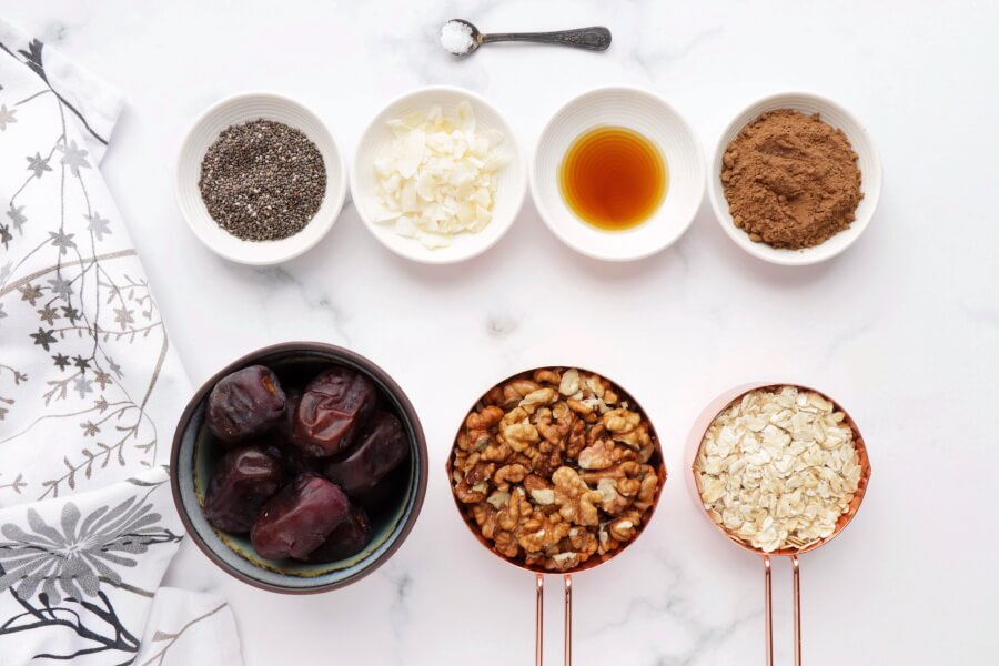 Ingridiens for Walnut Bliss Balls with Chia, Coconut and Carob