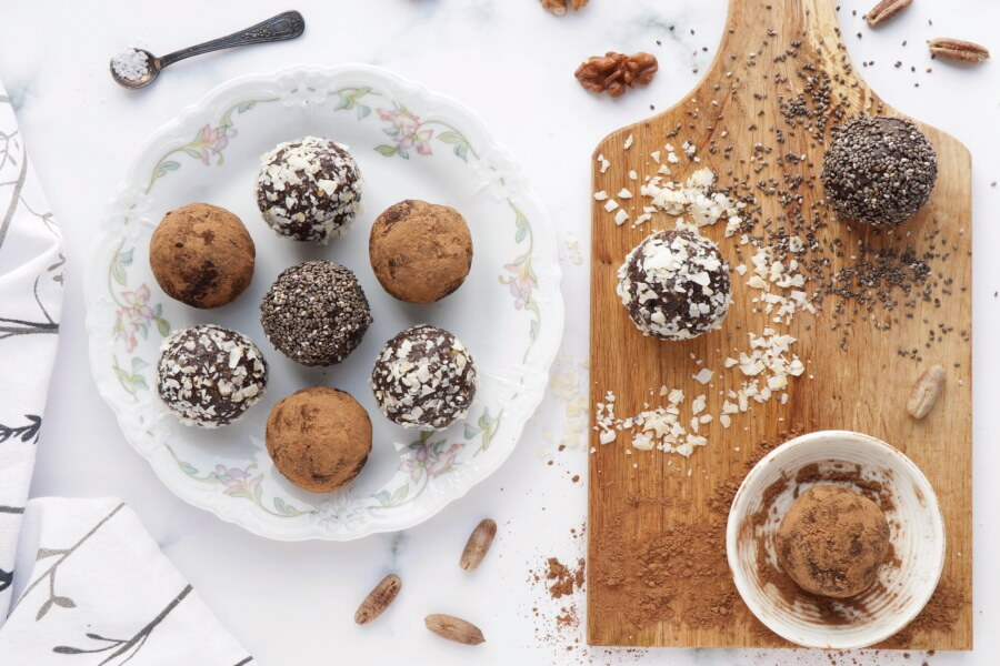 How to serve Walnut Bliss Balls with Chia, Coconut and Carob