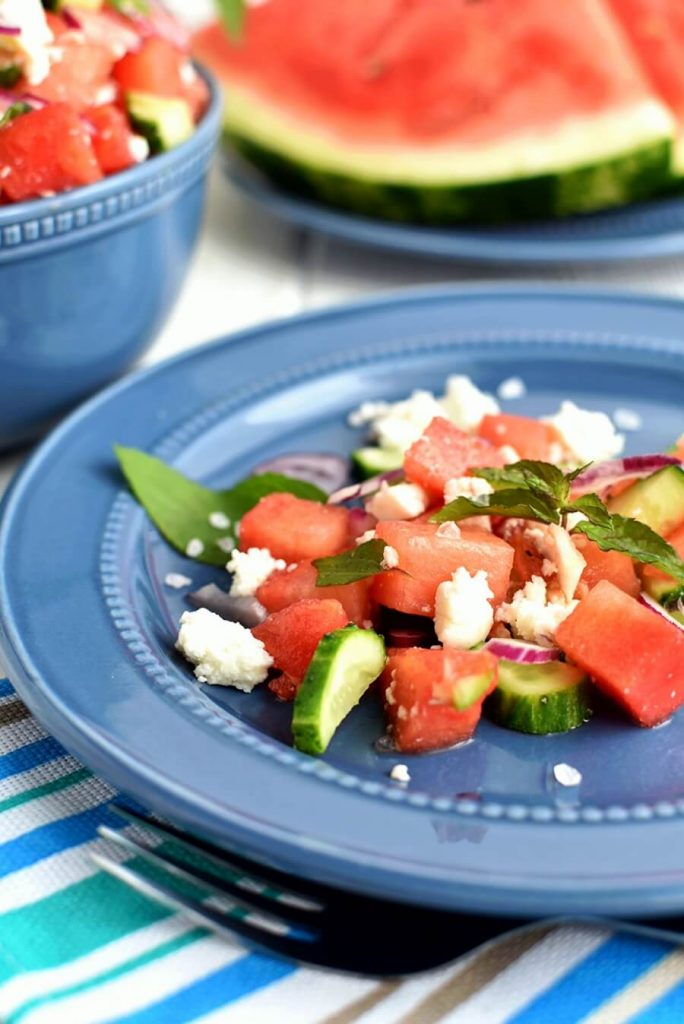 A perfect combination of sweet watermelon and salty feta