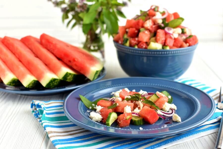 Watermelon Feta Salad Recipe-How to make Watermelon Feta Salad-Delicious Watermelon Feta Salad
