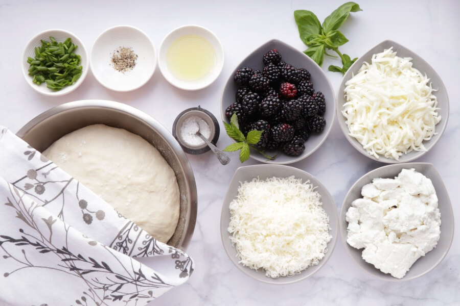 Ingridiens for Blackberry Ricotta Pizza with Basil