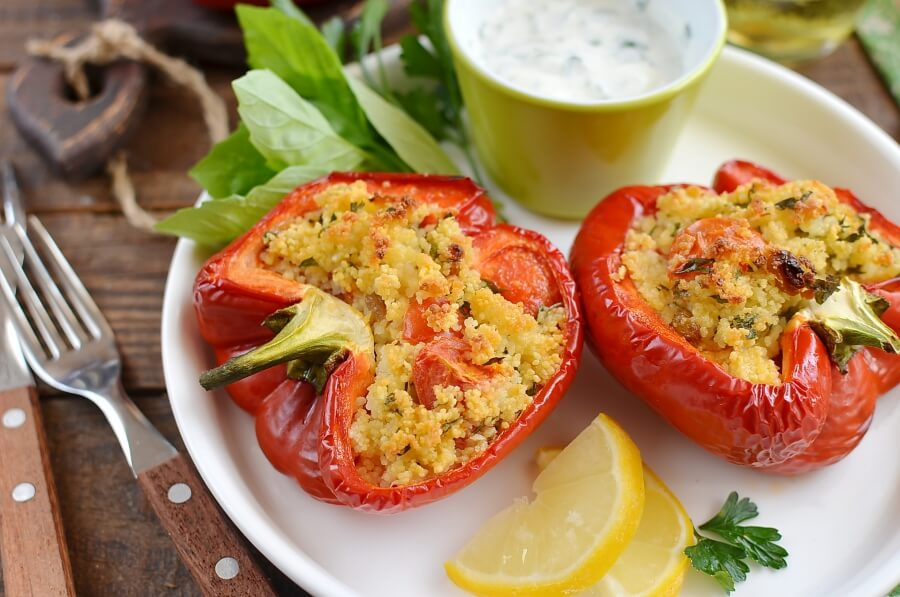 How to serve Gremolata Couscous-Stuffed Peppers