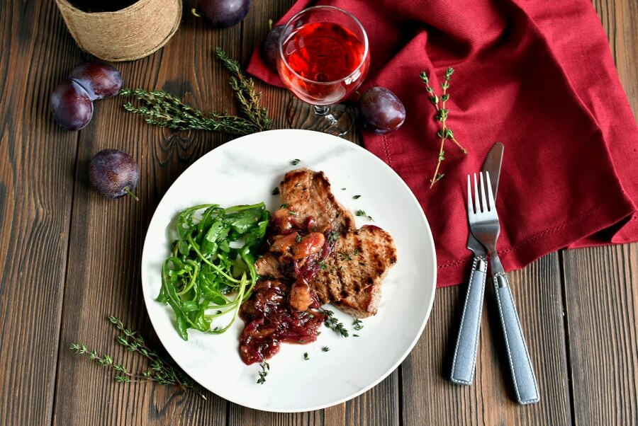 How to serve Keto Grilled Pork Chops with Plums and Arugula