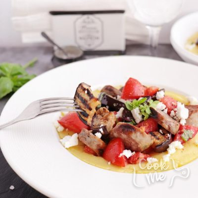 Grilled Sausage, Eggplant and Tomatoes with Polenta Recipe-How to Make Grilled Sausage, Eggplant and Tomatoes with Polenta-Delicious Grilled Sausage, Eggplant and Tomatoes with Polenta