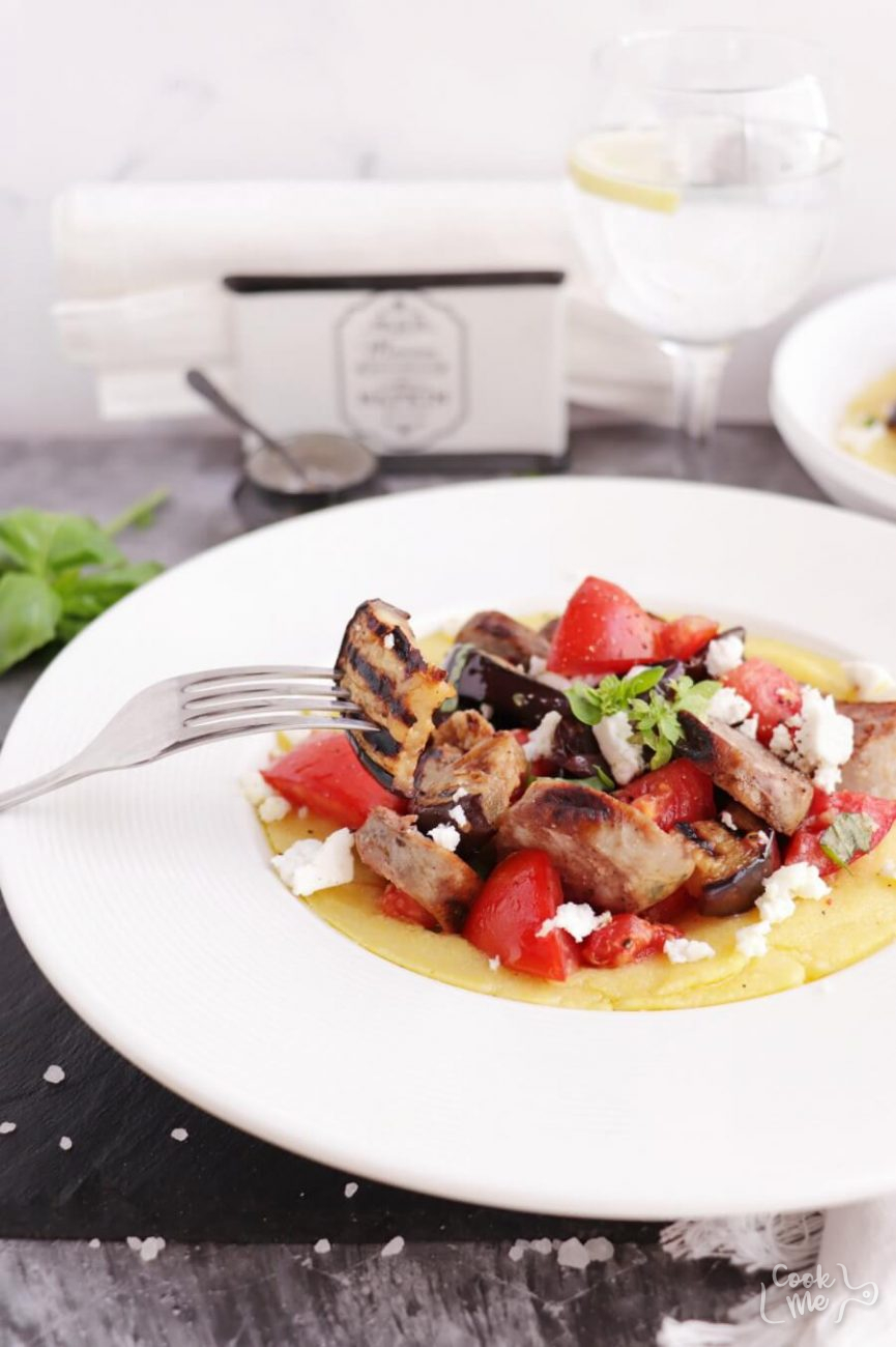 Grilled Sausage, Eggplant & Tomatoes with Polenta