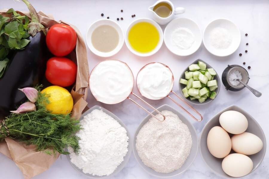 Ingridiens for Mediterranean Yogurt Flatbread with Crispy Eggplant
