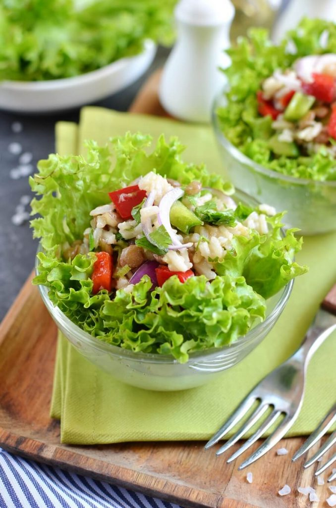 Cooked Lentils and Rice in a Lettuce Bed