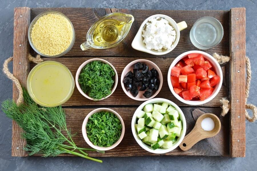 Ingridiens for Mediterranean Couscous Salad