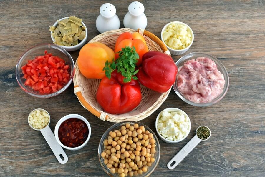 Ingridiens for Mediterranean Stuffed Peppers