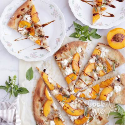 Peach and Prosciutto Pizza Recipe-Peach & Prosciutto Pizza with Balsamic Reduction-How to Make Peach & Prosciutto Pizza