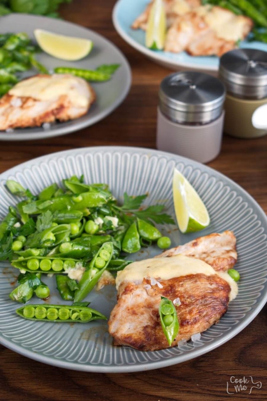 Seared Coconut-Lime Chicken with Snap Pea Slaw