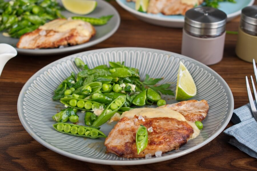 How to serve Seared Coconut-Lime Chicken with Snap Pea Slaw