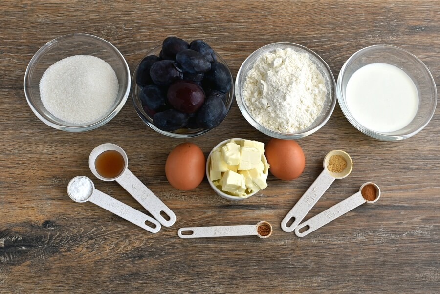 Ingridiens for Spiced Plum Custard Cake