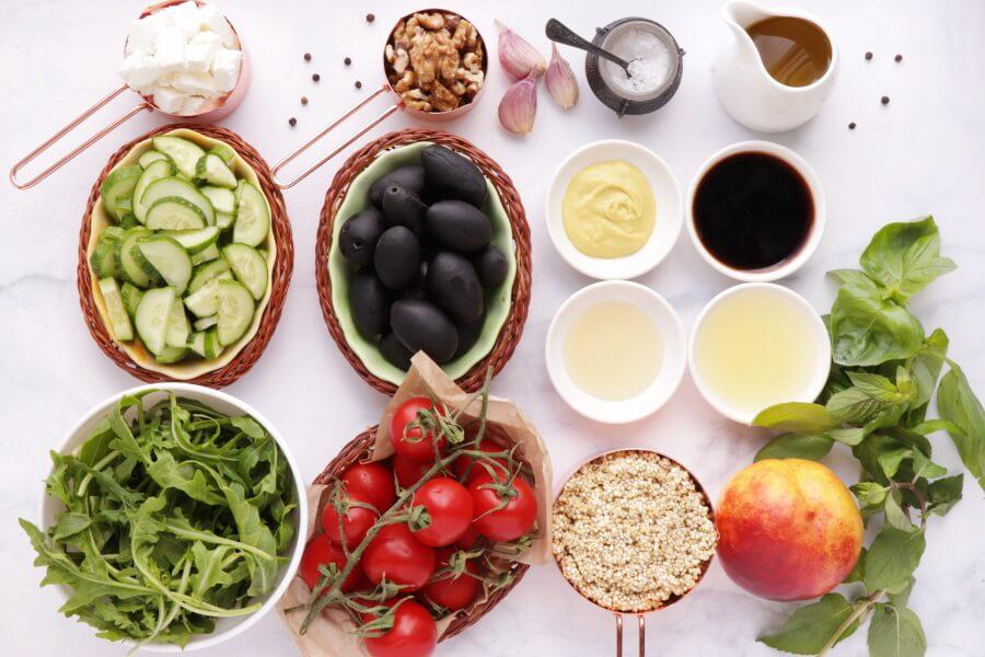 Ingridiens for Summer Greek Quinoa Salad