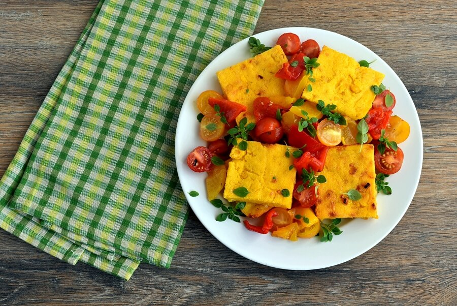 How to serve Sweet Corn Polenta and Tomato Salad