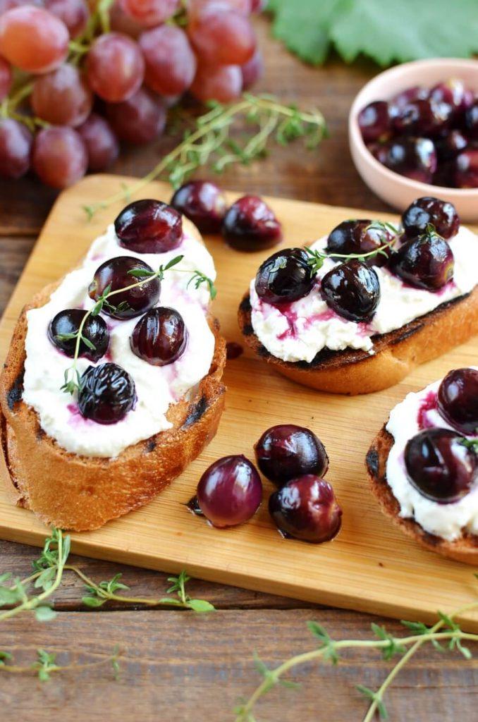 Open Faced, Grape and Ricotta Sandwiches