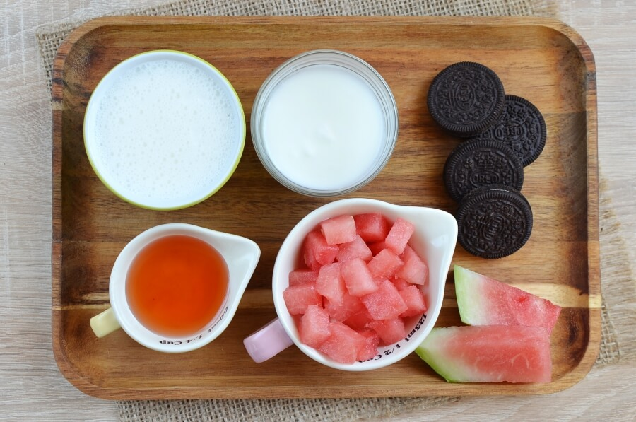Ingridiens for Watermelon and Cream Ice Pops