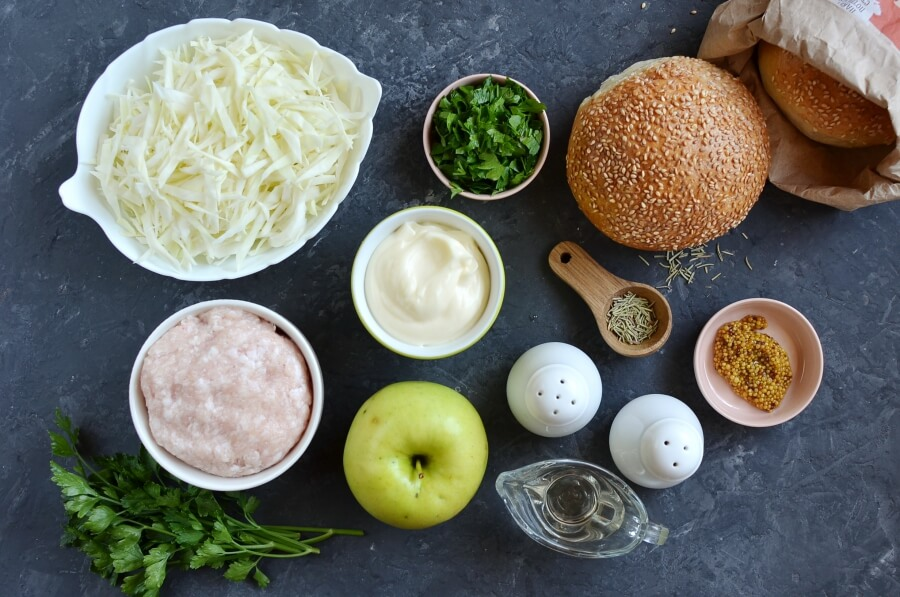 Ingridiens for Apple Chicken Burgers and Slaw